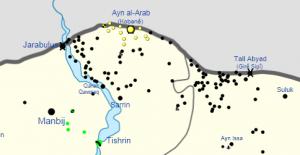 Stellungen des IS (schwarz) und der YPG/YPJ (gelb) . Stand etwa Freitag, 26.9., Vormittag.