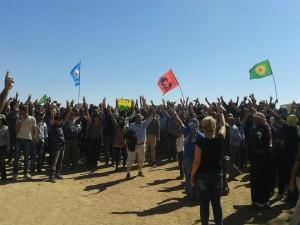 Serhildan gegen die Pläne des IS und der NATO: Türkische und kurdische Linke protestieren gemeinsam an der Grenze zu Kobane