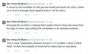 """Screenshot eines IS-Supporters: Der Islamische Staat will den Mythos verbreiten, dass alle """"Ungläubigen"""" gegen sie kämpfen und sie die einzigen sind, die für die Rechte der Muslime einstehen"""