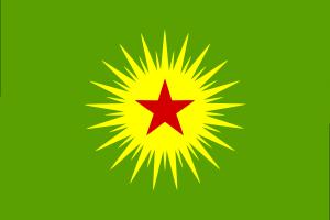 Flagge der Union der Gemeinschaften Kurdistans (ratet mal: Ja, auch diese Flagge gilt in Deutschland als PKK-nah und ihr Mitführen auf Demos ist verboten)