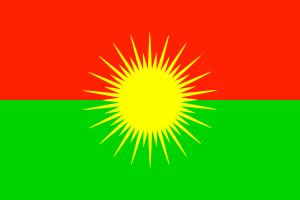 Fahne des Kongra-Gel, des kurdischen Volkskongresses. In Deutschland verboten.