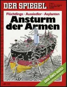 Sensibles Cover des bürgerlichen Meinungsmagazins Nr.1 während der Pogrom-Zeit Anfang der 1990er : Der Spiegel, 37/1991