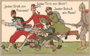 Jeder Schuss ein Russ - Propagandapostkarte aus der Zeit des Ersten Weltkriegs