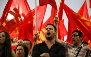 Aleka Papariga delivers speech during a pre-election rally of the Communist Party in Thessaloniki.