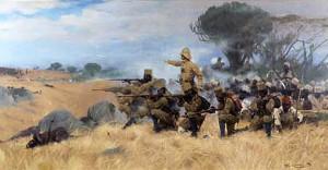"""Standard-Reaktion der Herrschenden auf Widerstand: Deutsche Soldaten schlachten Aufständische in """"Deutsch-Ostafrika"""" ab (1905)"""