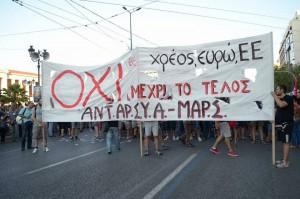,,Oxi!'' - das Wahlbündnis ANTARSYA-MARS unterstützte Ein ,,Nein!'' im von der SYRIZA-ANEL-Regierung anberaumten Referendum im Juli