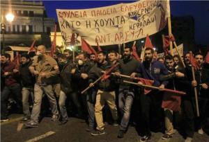 Antarsya in Aktion - insbesondere die Präsenz in den sozialen Bewegungen und auf der Straße ist ANTARSYA wichtig