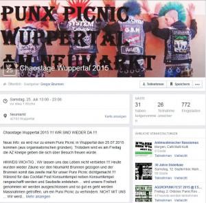 Chaostage Wuppertal 2015 mit 31 Zusagen, Quelle: facebook.com
