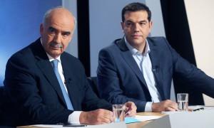 Nur scheinbare Widersacher: Alexis Tsipras (SYRIZA) und Vangelis Meimarakis (ND) beim TV-Duell