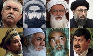 Eine Auswahl der einflussreichsten Islamistischen Warlords in Afghanistan. Von o.l. Abdul Raschid Dostum, Mohammed Omar, Abdurrab Rasul Sayyaf, Gulbuddin Hekmatyar, Ahmed Shah Massoud, Ismail Khan, Mohammad Mohaqiq, Gul Agha Sherzai. Einige von ihnen sind unter der NATO-Besatzung zu Amt und Würden gekommen.