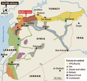 """Pufferzone auf syrischem Territorium: das von der Türkei protesgierte Gebiet würde direkt an die Autonomieregion der Kurden grenzen, deren Administration von Erdogan als """"terroristisch"""" eingestuft wird"""