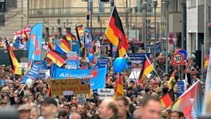 Durch kosmetische Operationen werden die nicht weniger: AfD-Demonstration mit nationalistischen und völkischen Winkelementen