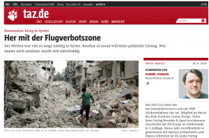 taz-Redakteur Dominic Johnson will eine westliche Militärintervention in Syrien. Das Cizre-Massaker oder die Bombardierung Nusaybins konnten keinen vergleichbaren Wunsch im Bezug auf die Türkei in ihm erwecken.